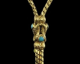 Old gold Turquoise old watch chain 18 K gold necklace