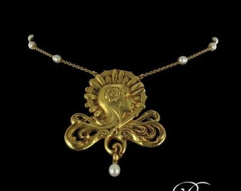 Art necklace new pattern beads yellow gold 18K Modern Art nouveau woman