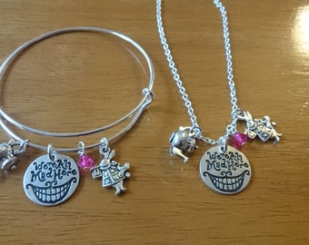 We're all mad here Alice in wonderland silver quote expandable bracelet/necklace/key ring options