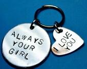 Valentines day, Anniversary gift, Husband gift, Boyfriend gift, I Love You, Love keyring,Handstamped keyrings,Gift for husband, gift for him