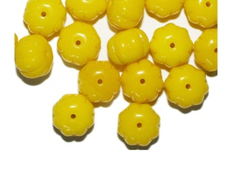 Yellow Puff Blossom Czech Pressed Glass Beads 8x10mm (pack of 16)