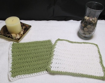 Green and White Dish Cloths Two Tone Cloths Dish Cloths Kitchen Linens Household Linens Kitchen Cloths Crocheted Dish Cloths