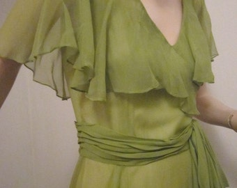 60s Vintage 1960s Dress Formal Ball Gown Full Length Evening Dance Dress  Green Chiffon Lined