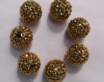 Set of 10  - 20mm Bright Gold Rhinestone Bead, Gumball Bead,Chunky Bead,Resin Rhinestone Bead, Resin Bead, 20mm Chunky Bead, Chunky Necklace
