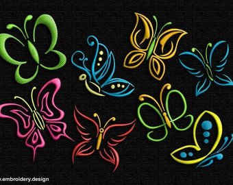 Outline Butterflies embroidery designs pack (collection of 8)