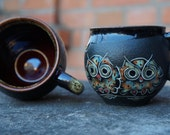 Ceramic mug Owls Set of 2 cups Stoneware mug Coffee mug Tea mug Black mug Mothers gift Wife gift Pottery mug Art pottery Clay mug