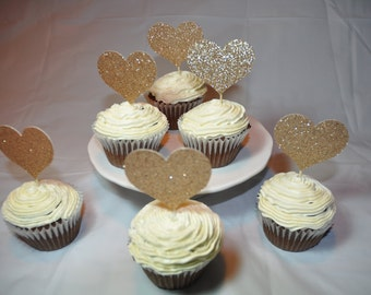 12 Rose Gold Heart Toppers Birthday / shower great for cakes and cupcakes
