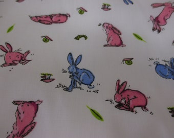 White with Pink & Blue Bunny Rabbit, Rabbits Printed Polycotton Fabric