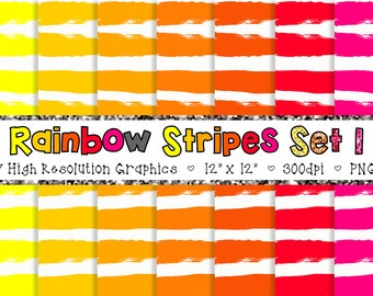 Doodle Stripes Digital Paper Pack in Rainbow Pink, Orange, and Yellow - Personal and Commercial INSTANT DOWNLOAD {SET 1}