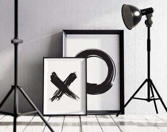X    &  O Prints, modern wall art monochrome prints for your home or office