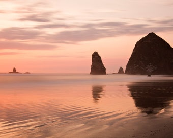 Cannon Beach Sunset Panoramic, Warm Sunset, Beach Sunset Photography, Haystack Rock