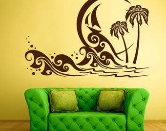 rvz1341 Wall Decal Vinyl Sticker Decals Palm Beach Waves Ocean Sea Poster