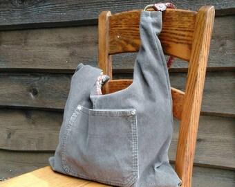 Recycled corduroy hobo, upcycled handbag, boho bag, large denim bag, green corduroy and floral