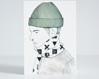 Boy with Beanie and Nose piercing Postcard