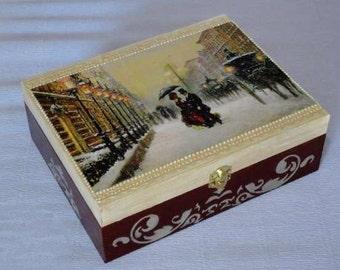 Hand decorated wooden tea box. Tea storage box. Decoupage box.