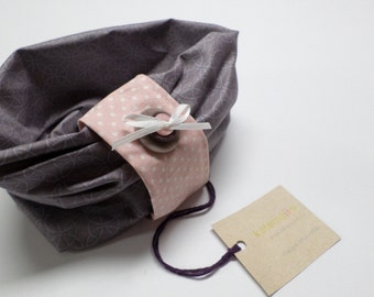 Scarf look endless, secure with velcro - grey & pink pea