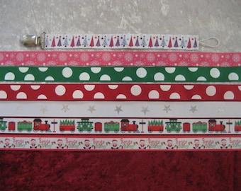 Christmas Winter Binky Pacifier Leash Clips