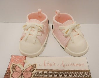 Gum Paste Baby Girl Sneakers Cake Topper