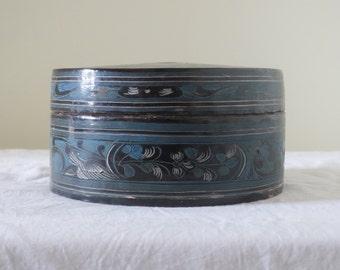 Black Burmese Lacquer Betel Box- Medium sized