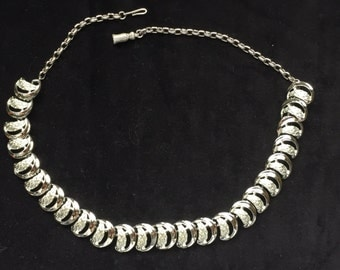 Silver tone half moon necklace