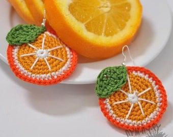 SALE!!! Crochet earrings oranges,knit earrings,lightweight knitted earrings,bijouterie,Eco Friendly Earrings,Knitted jewelry Valentine's Day