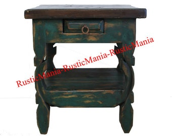 Rustic green Wash End Table OX Yoke Legs Hand Made (6162)