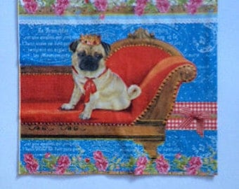 Tissue Paper Napkins for Decoupage and Crafts - Pug Single Vintage Table Paper Napkins / Decoupage /  kraft paper serviette
