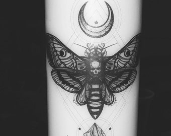 DeathsHead Hawk Moth Pillar Candle // White // Unscented // Crystals // Moon