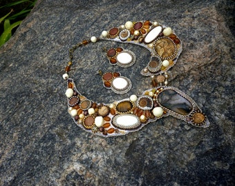 Gold Brown  Embroidered Jewelry Set necklace earrings Bead Embroidery necklace Wedding Necklace Beadwork necklace Beaded Jasper Ammonite