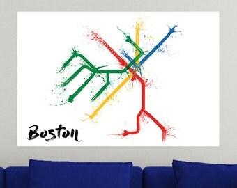 Boston Train Map Poster