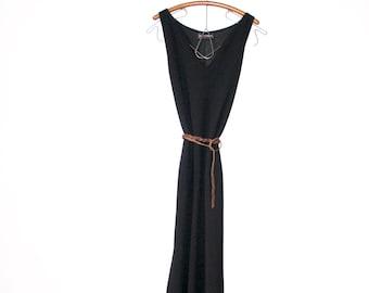 vintage midi dress / little black dress / vintage black dress / vintage long dress / long black dress / cover-up