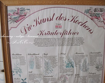 Antique XL poster - herbs - in the wooden frame 63 cm x 48 cm