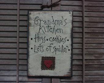 Primitive Sign: Grandma's Kitchen
