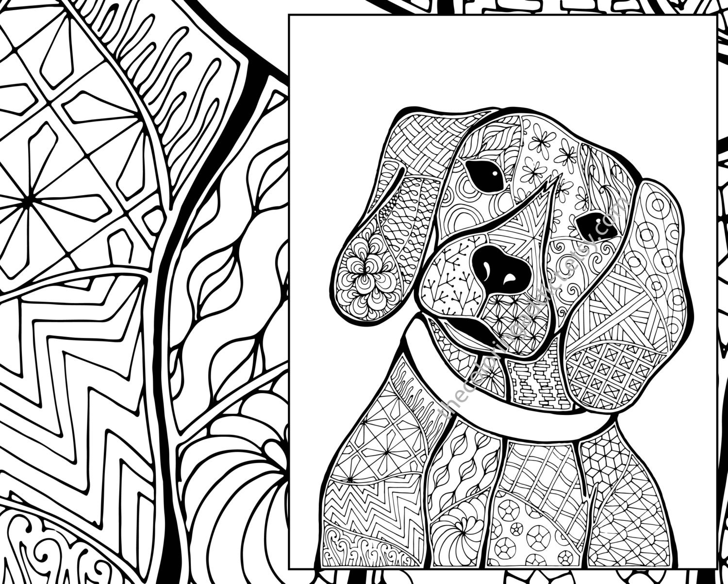 zentangle dog colouring page animal