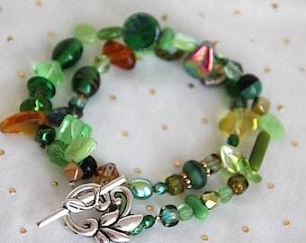 bracelet, Bohemian glass beads, metal