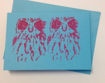 Two Hooters, Blank Gift Card in Blue & Pink