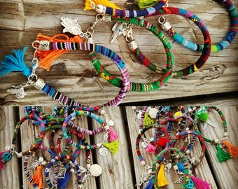 Serape Charm Bracelet, Serape fabric, charm bracelet, serape cord, boho fabric bracelet
