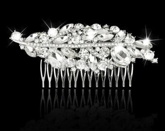 Wedding Bridal Hair Comb Sterling Silver Plated  Clear Austrian & Swarovski Crystal Rhinestones Prom NOW ON SALE!