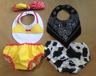 Black and White Cow/western Smash cake outfit, bloomers, Boy bib, bandanna bib, reversible bib, summer diaper cover, baby birthday outfit