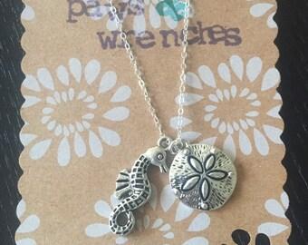 Seahorse & Sand dollar necklace