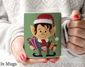 Christmas Elf Mugs, Christmas Coffee Mugs, Holiday Mugs, Winter Coffee Mugs, Cute Coffee Mugs, Stocking Stuffers, Christmas Gifts (X1511)