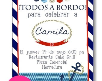 Printable birthday invitation. Nautical, sailor, sea, printable, digital.