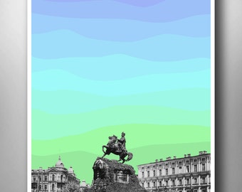 Old Kiev City, Modern City Art, Modern Poster