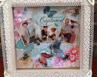 "Mixed media vintage style cut paper collage ""A moment captured"""