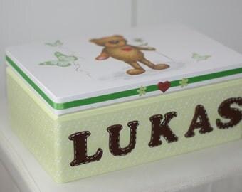 Personalized decoupaged keepsake box , box of memories, wooden gift, memory box,christening box