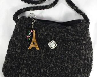 Handmade Crochet Black Evening Bag