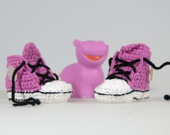 Pink crochet baby sneakers