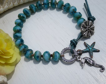 Hand knotted Turquoise faceted czech beads, Wrap bracelet, Beach chic, Artisan bracelet, Leather loop, Pewter