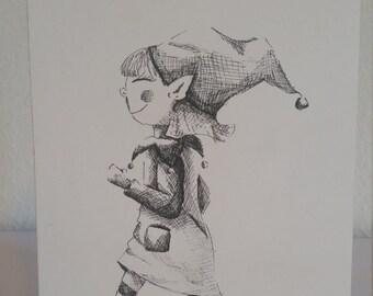 Girl Elf Holiday Card