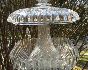 Bird Feeder of Vintage Crystal Glass